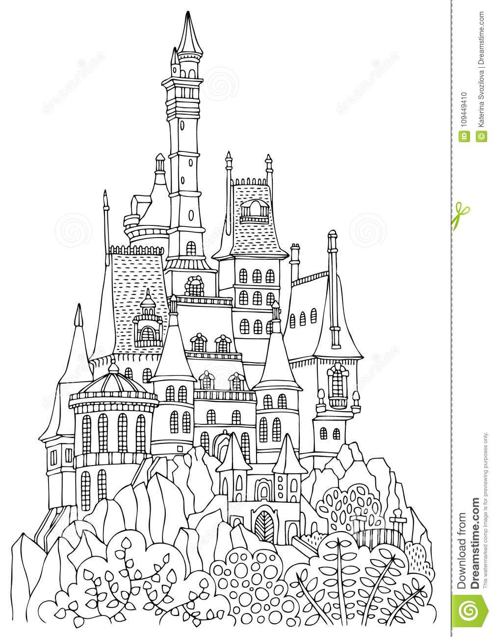 An old castle with many towers.