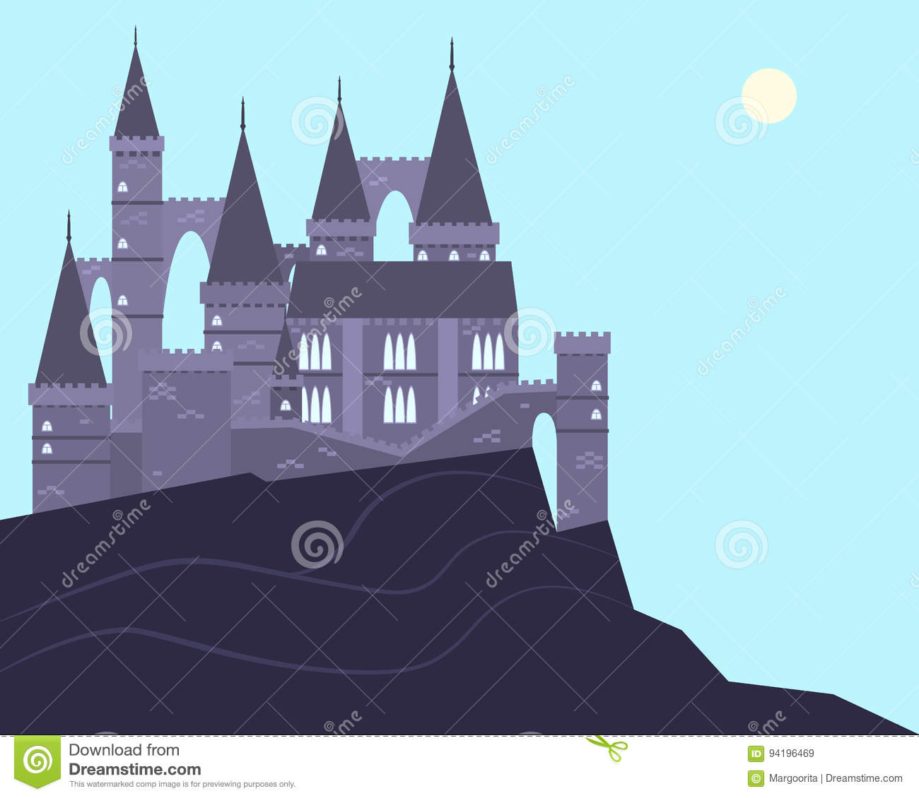 Town Landscape Vector Illustration: Old Castle On The Mountain Stock Vector. Illustration Of
