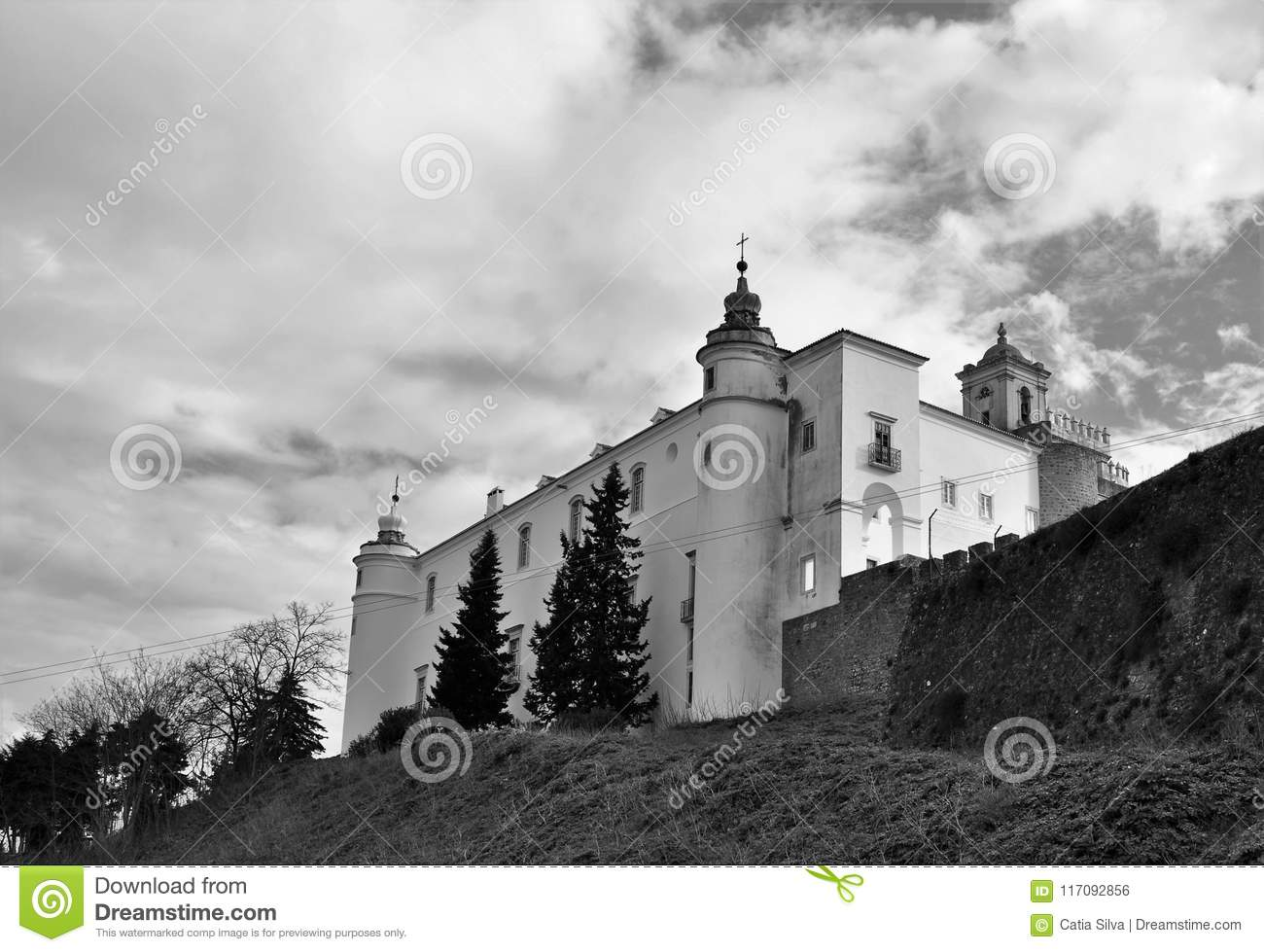 An Old Castle A New Hostel In Black And White Stock Photo