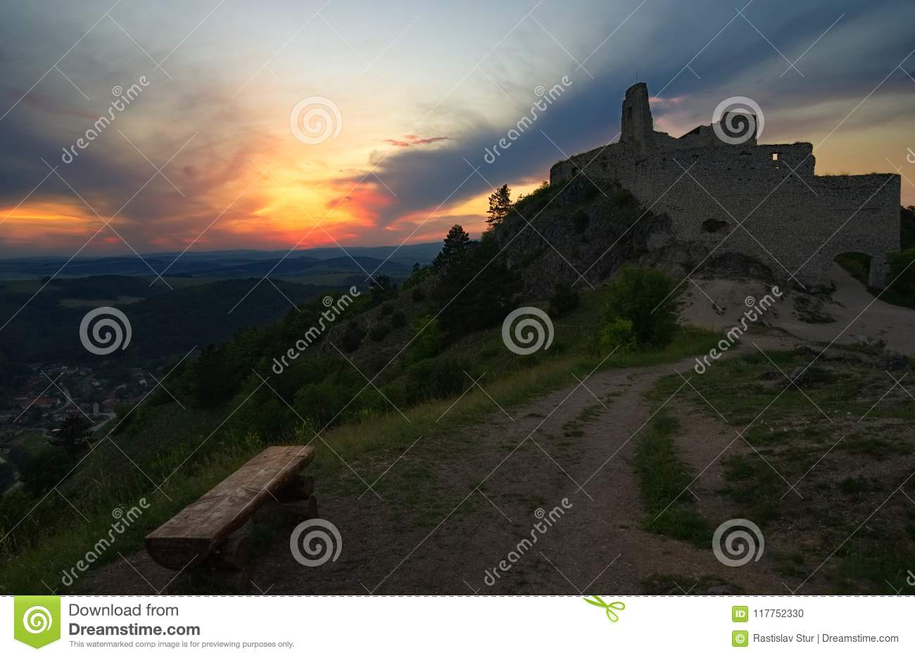 Old castle and sunset