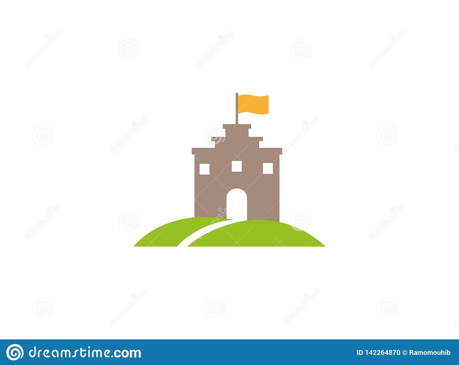 Old Castle Tower in a green plateau with a flag on the top and road to big door and windows for logo design
