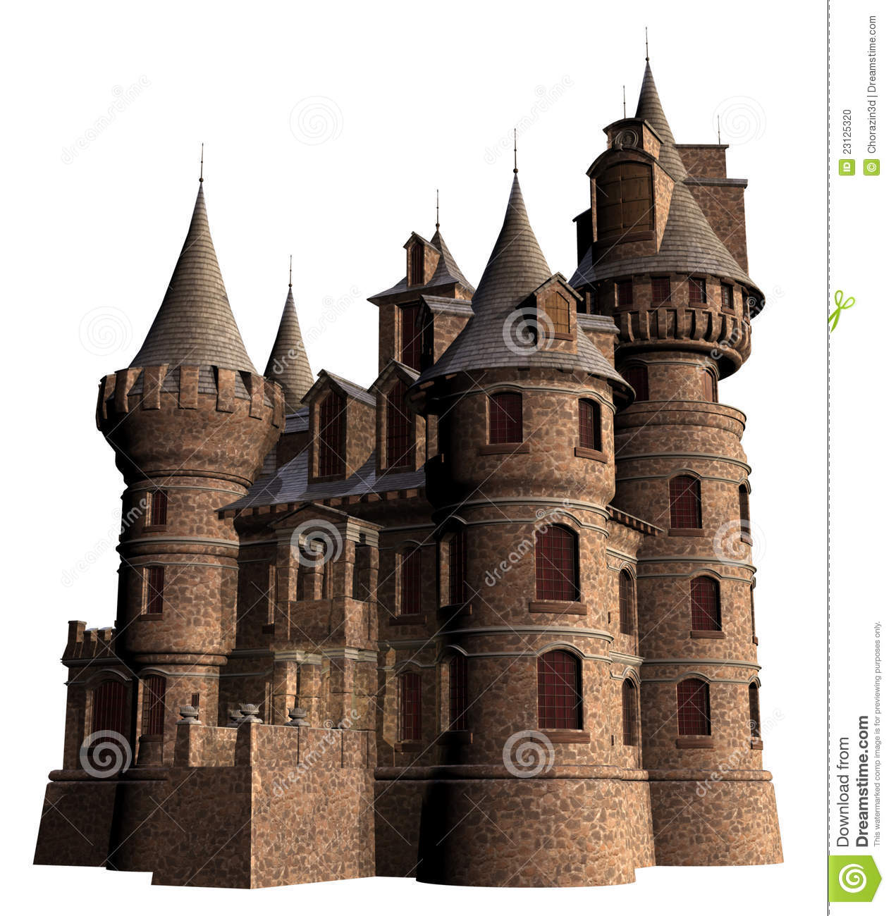 Old Castle With Towers Stock Illustration Illustration Of