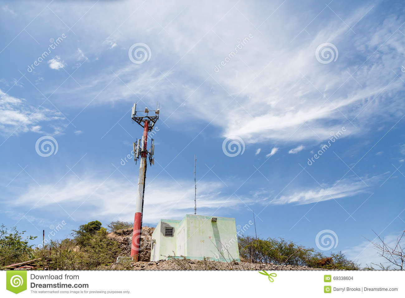 Old Cell Phone Tower On Tropical Hill Stock Photo Image
