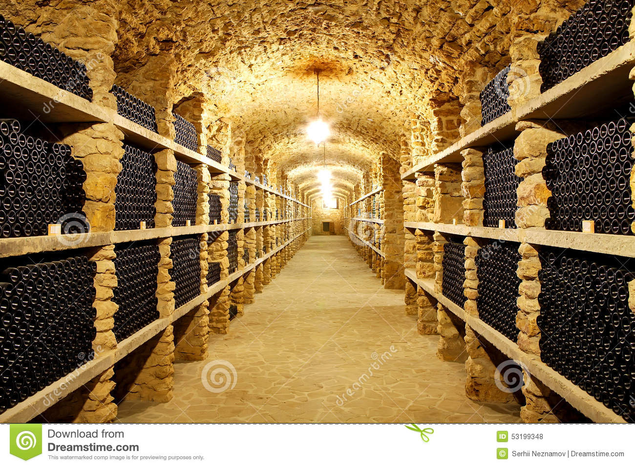 Enormous Wine Cellar : Old cellar of the winery bottles wine in future