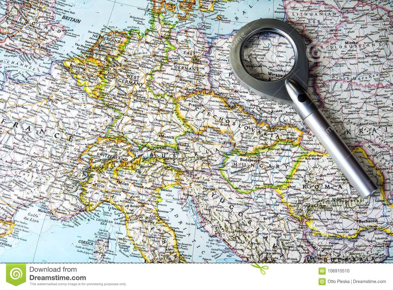Old Central Europe Map With East And West Germany Stock Photo