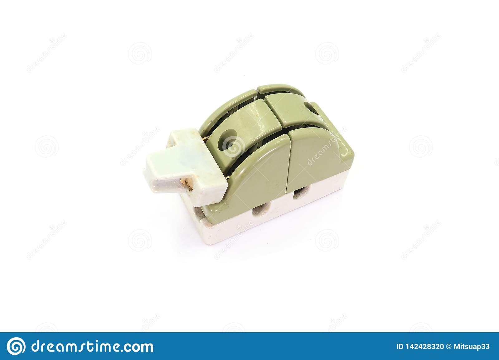 Old ceramic circuit breaker Cut out  on white background