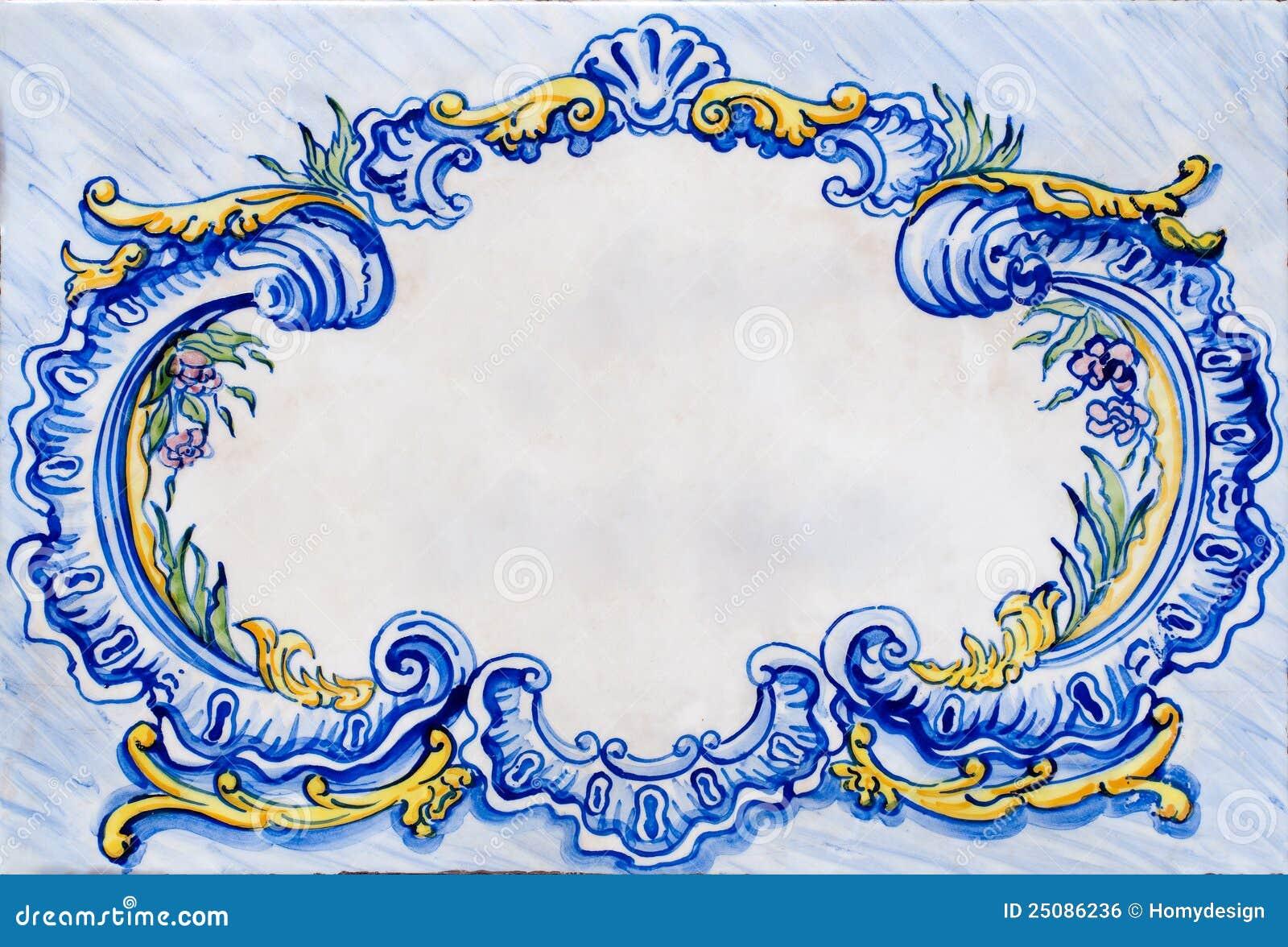 Old Ceramic Glazed Tile Frame Royalty Free Stock Image