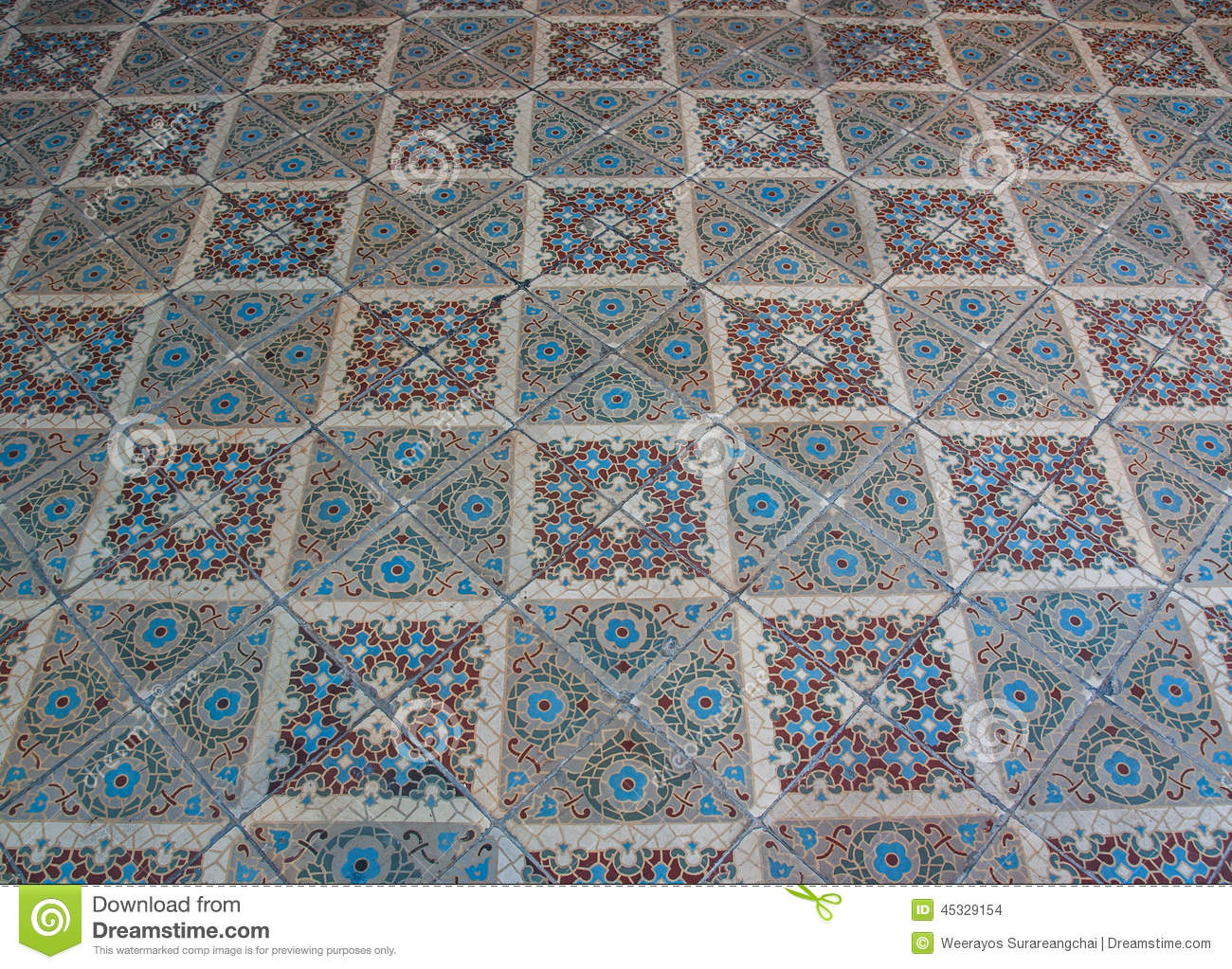 Old Ceramic Tile Floorshooting Angle In Obliquely Stock Photo
