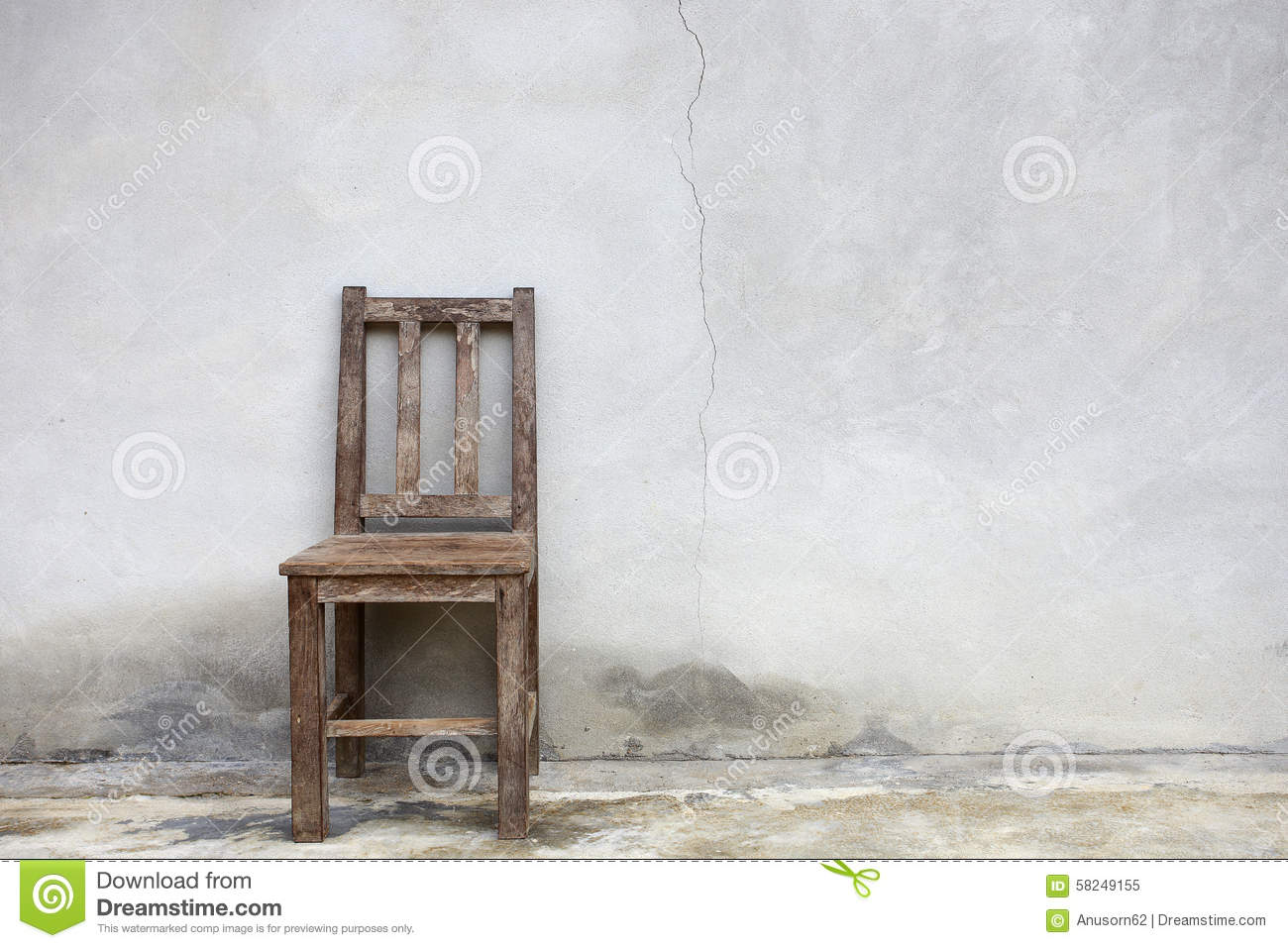 old chair against old wall stock image image of slums 58249155. Black Bedroom Furniture Sets. Home Design Ideas
