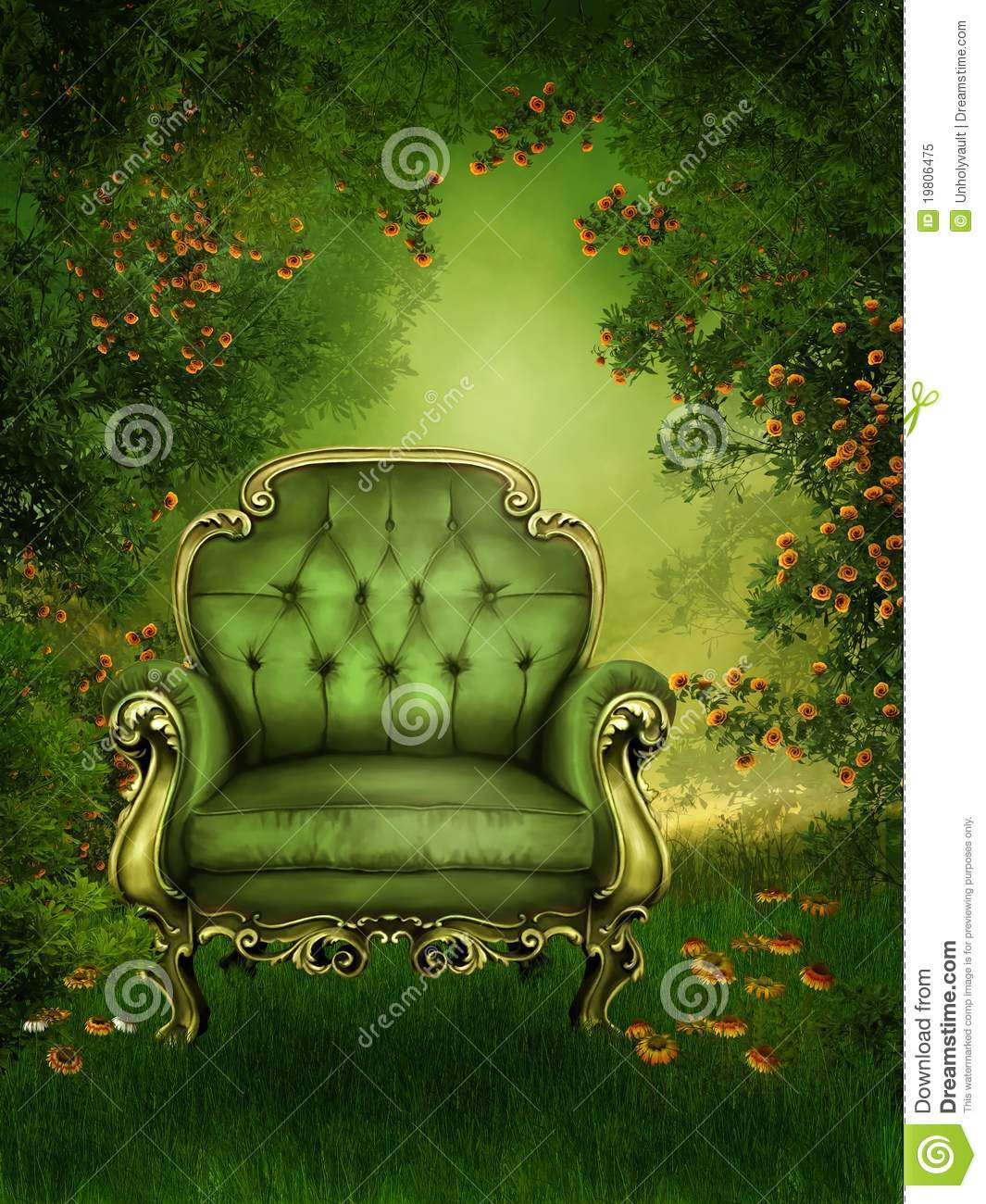 Old Chair In A Green Garden Royalty Free Stock Photo - Image: 19806475