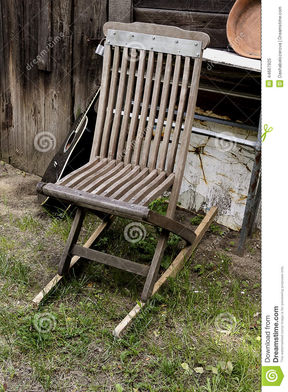 Groovy Old Chair And Guitar In Garden Stock Image Image Of Ocoug Best Dining Table And Chair Ideas Images Ocougorg