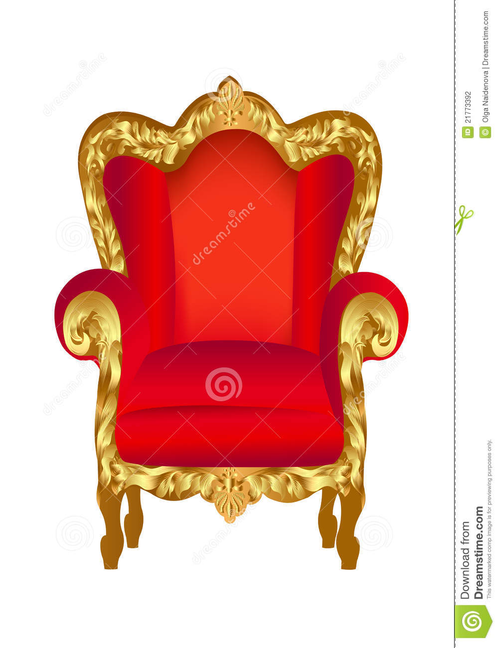 Old Chair Red With Gold Stock Vector Image Of Armchair