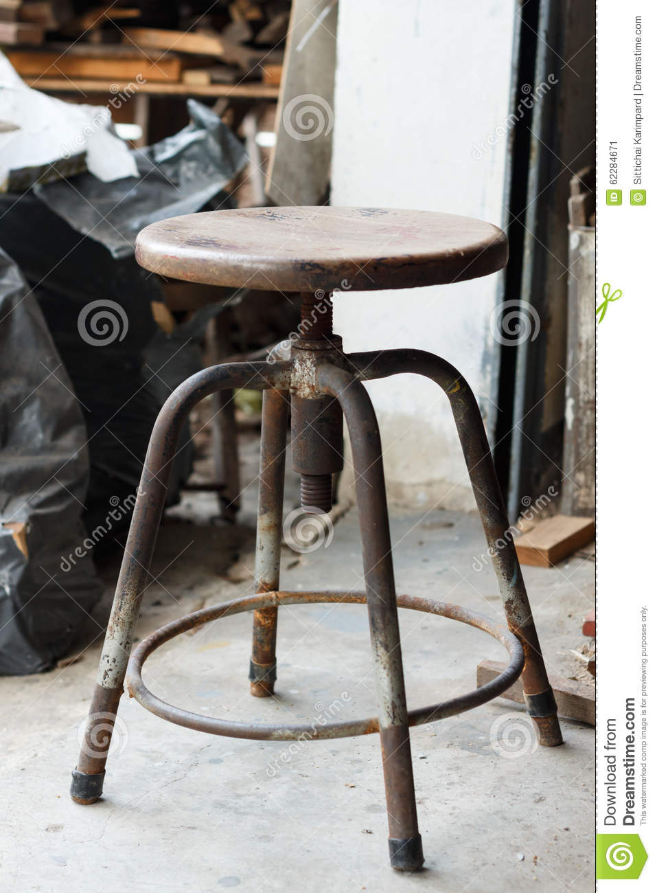 Wooden Discs For Stools ~ Old chair stock photo image
