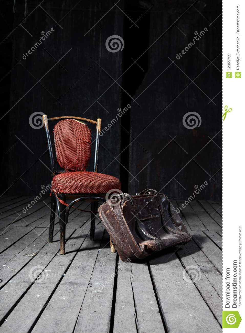 Old chair and suitcase stock photo. Image of luggage , 12065732