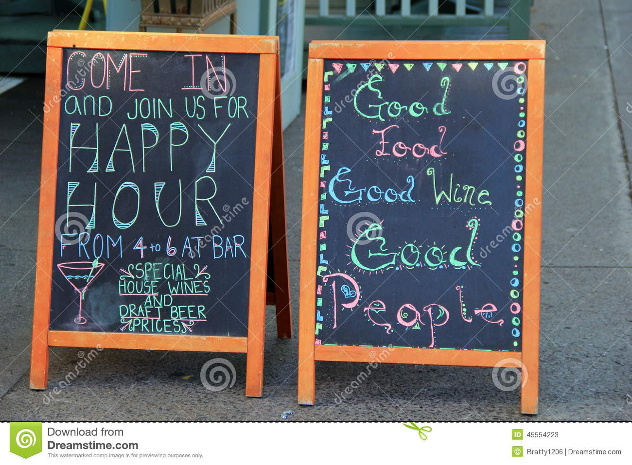 old chalkboard menus outside restaurant editorial stock photo