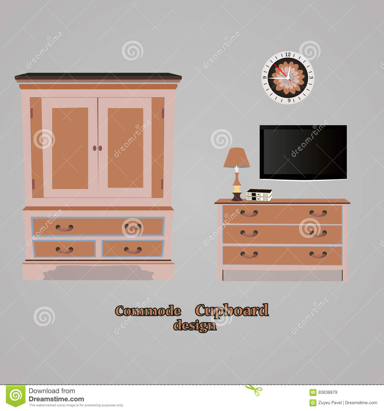 Empty Cupboard Cartoon: Modern Cupboard With Drawers Royalty-Free Stock