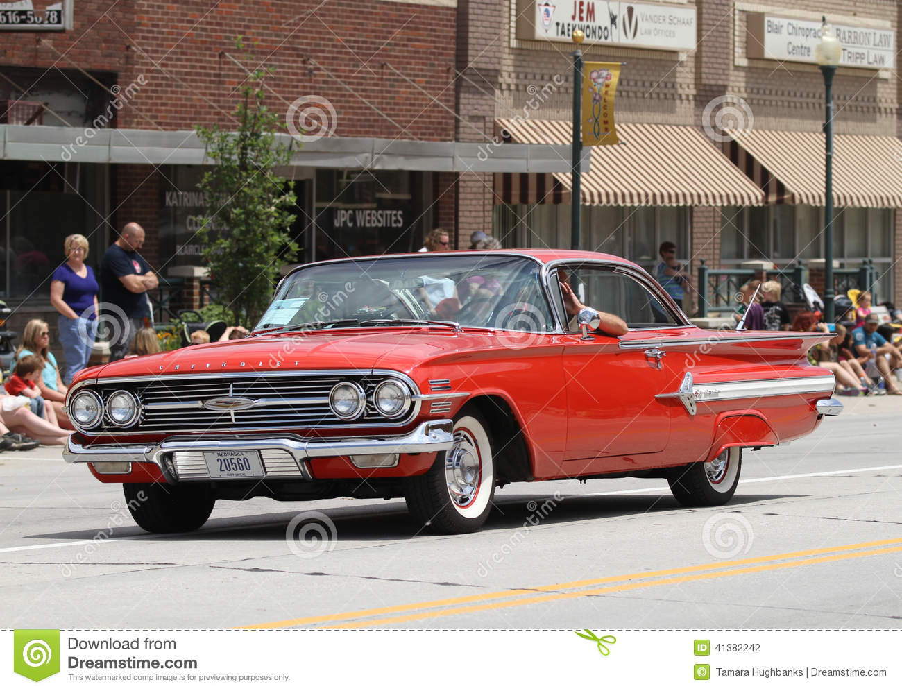 Old Chevrolet Car In Parade In Small Town America Editorial ...