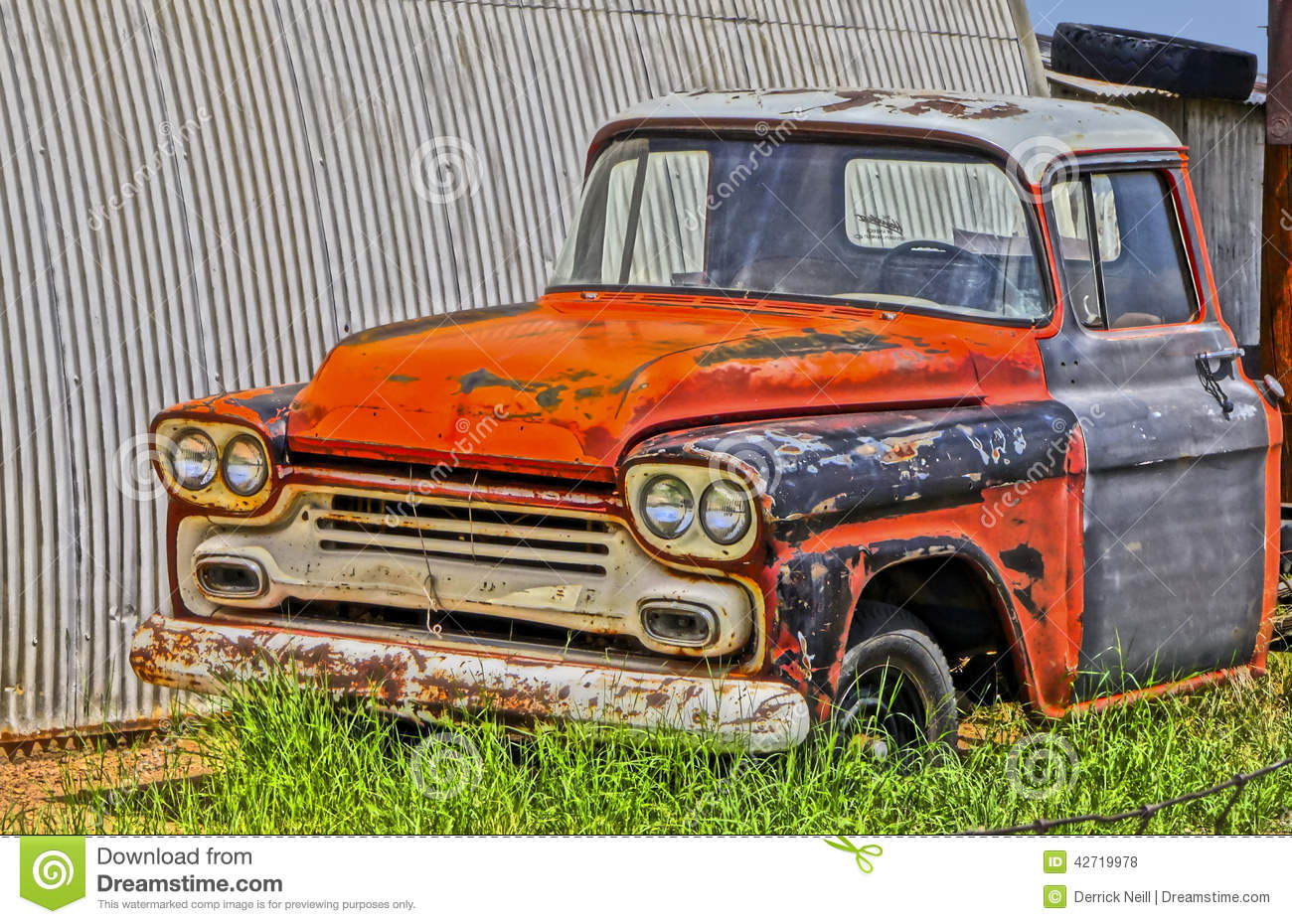 An Old Chevy Pickup Truck In A Junkyard Editorial Stock Photo ...