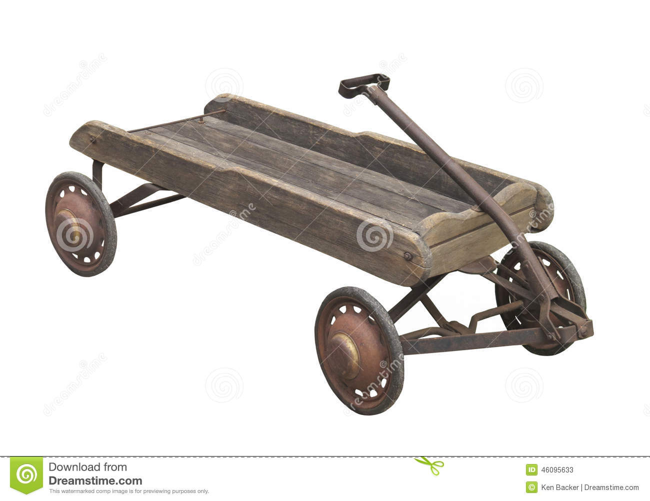 Old Childs Wooden Wagon Isolated Stock Image Image Of Wheels