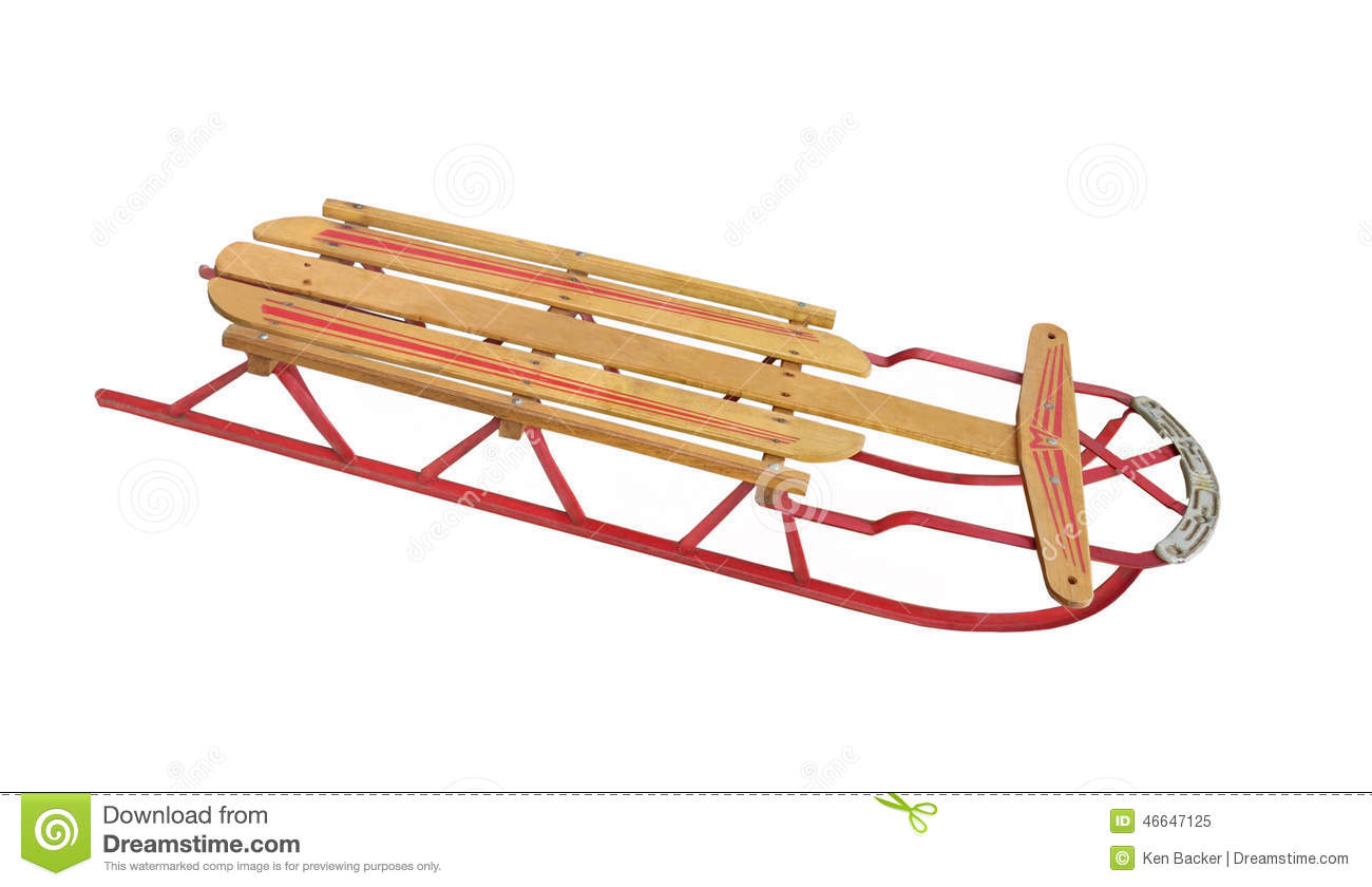 Old Child Snow Sled Isolated Stock Image Image Of Sled Vintage