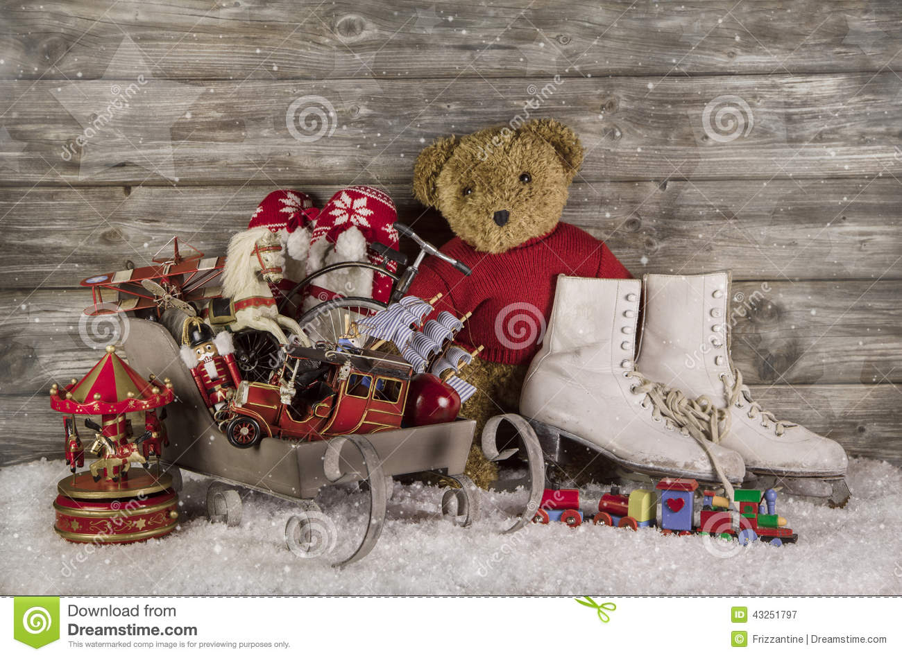 Christmas Toys For Christmas : Old children toys on wooden background for christmas