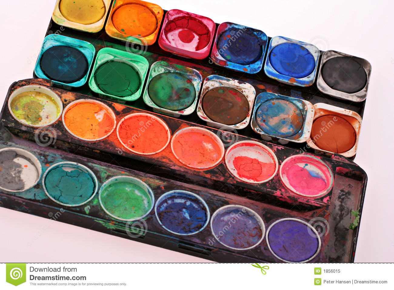 Old childrens paint set stock image. Image of mess, messy - 1856015