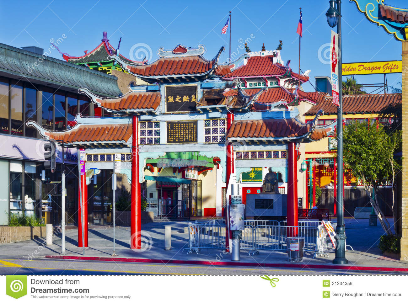 old chinatown gate in los angeles editorial photo image. Black Bedroom Furniture Sets. Home Design Ideas