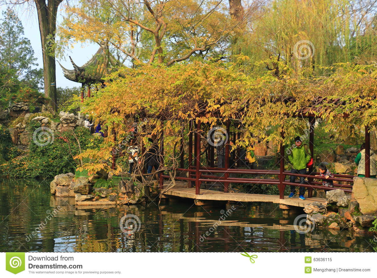 Old chinese classical corridor and architecture at liuyuan garden at autumn