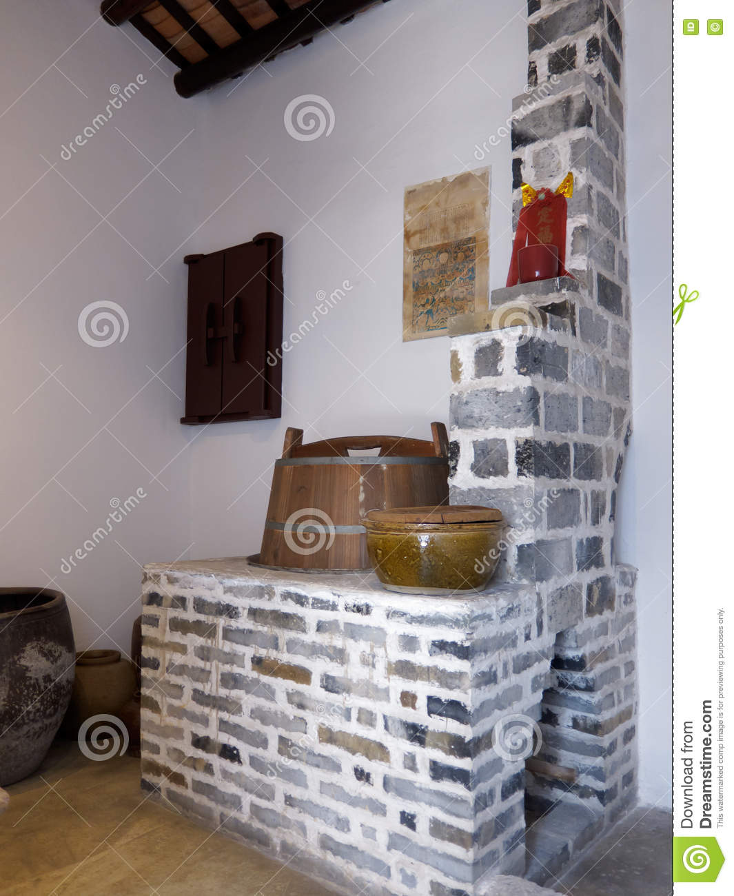 Old Chinese Kitchen Stock Image. Image Of Architecture