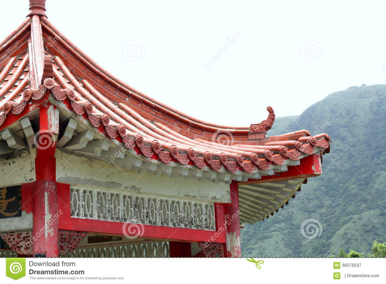old chinese pagoda roof in countryside stock image image of
