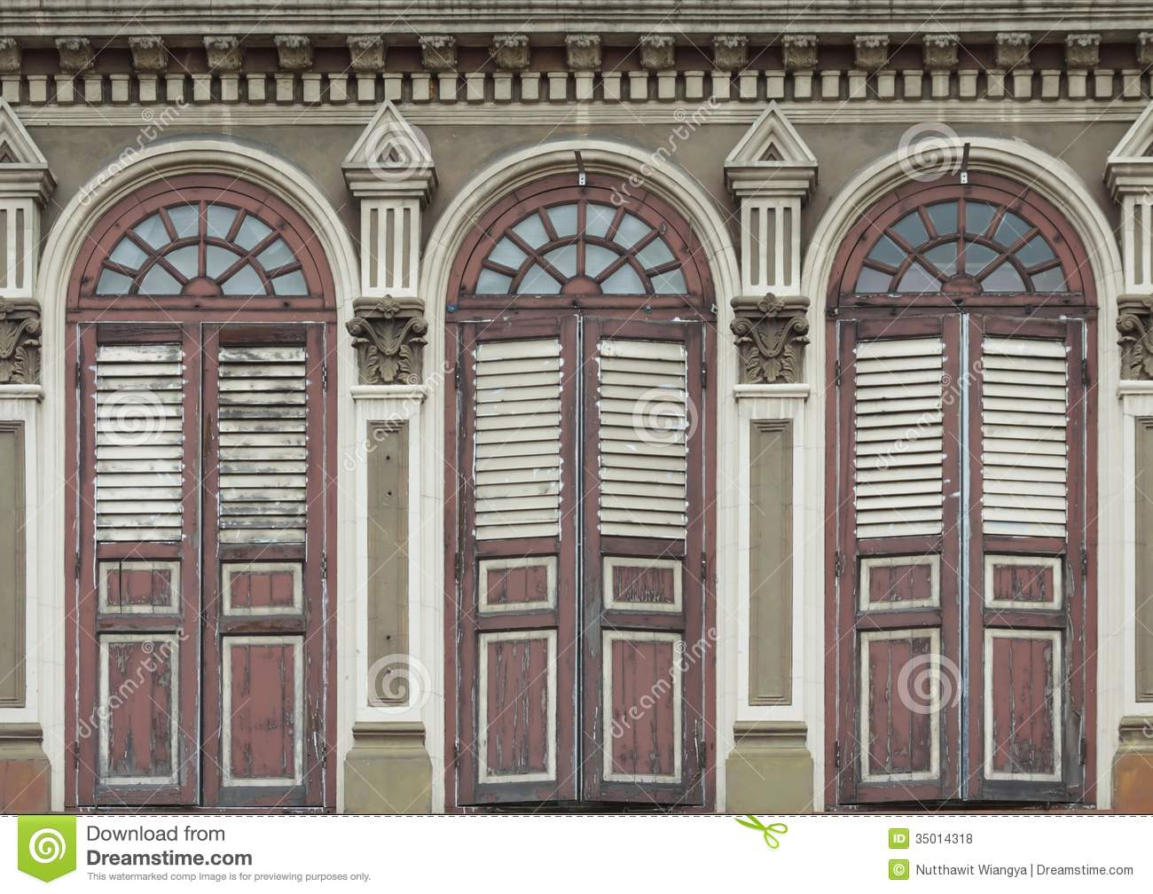 Old chino portuguese windows royalty free stock photos for Architecture windows
