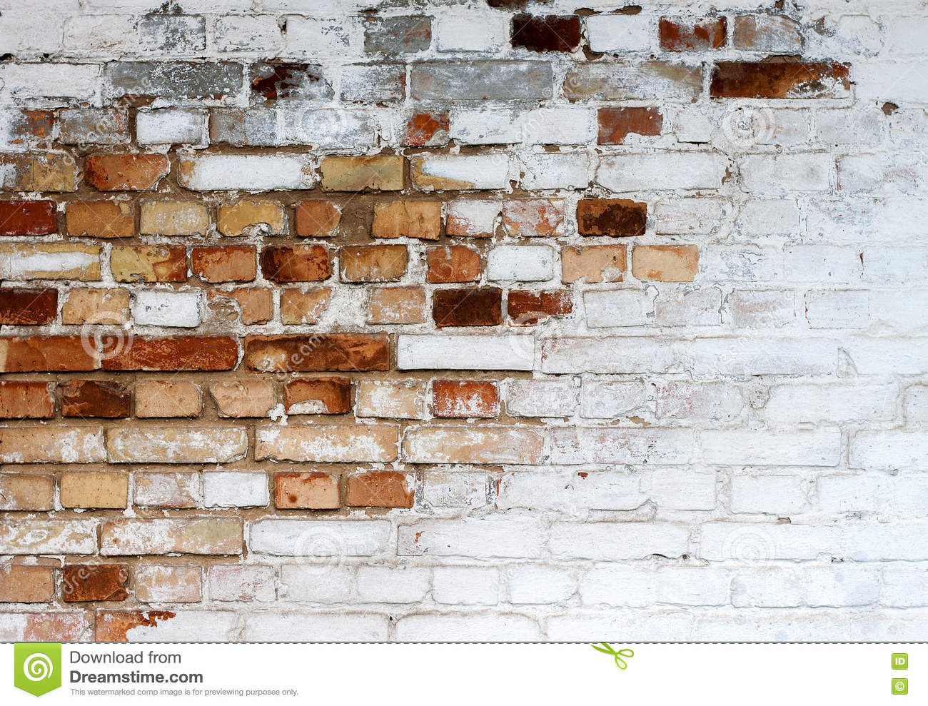 Old Chipped White Brick Wall Texture Background