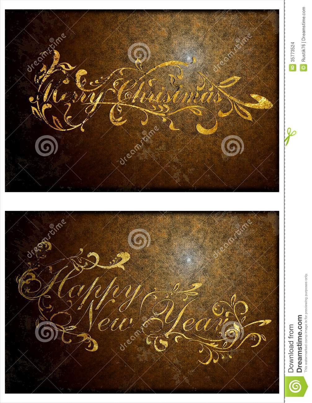 An old Christmas card. 02 stock illustration. Illustration of brown ...