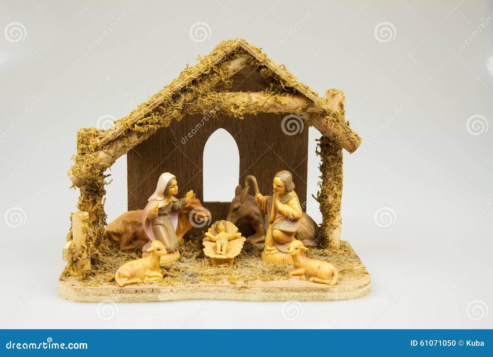 Old Christmas Crib Isolated On White BackgroundHorizontal