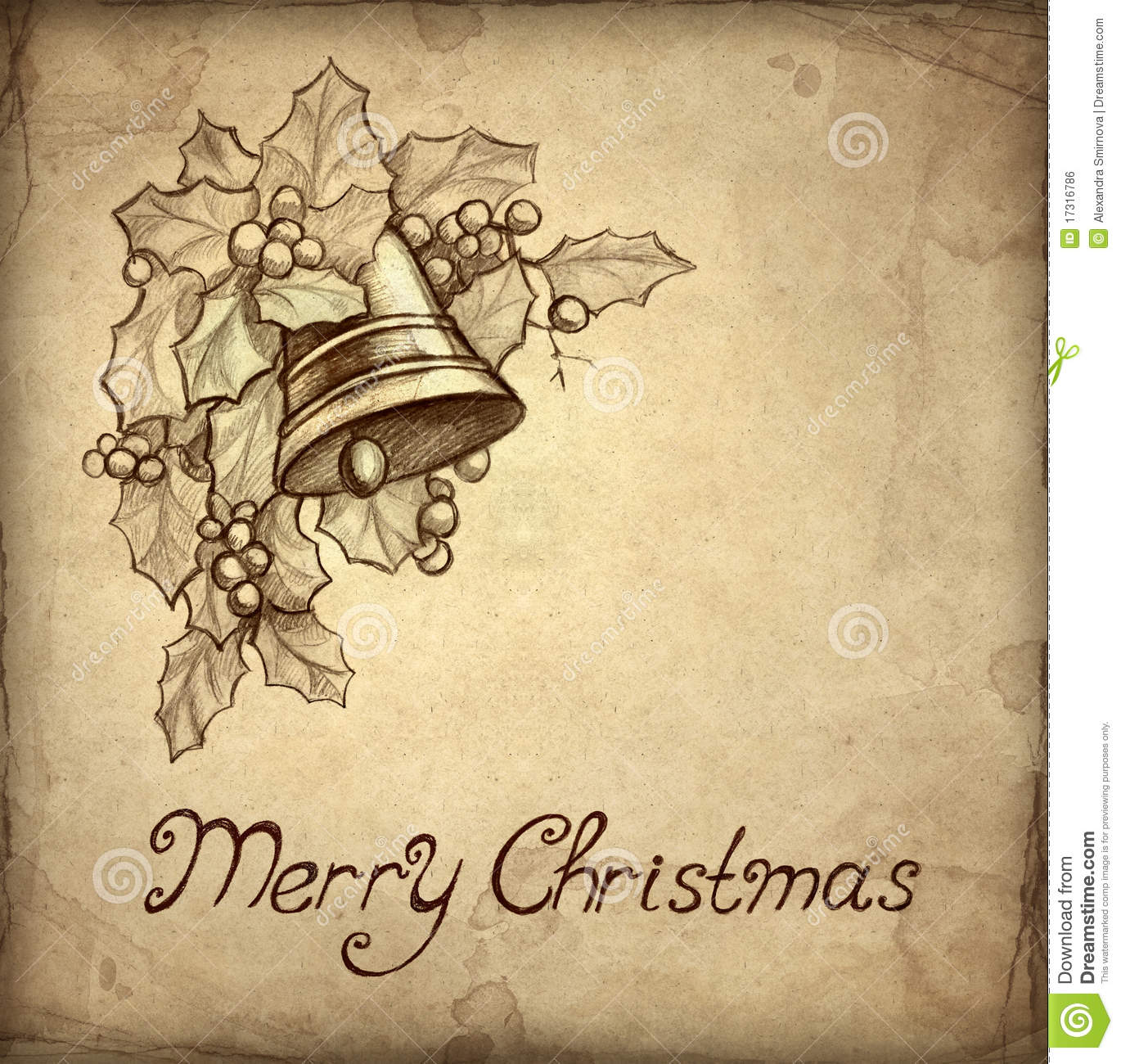 Old Christmas Greeting Card Royalty Free Stock Image - Image: 17316786