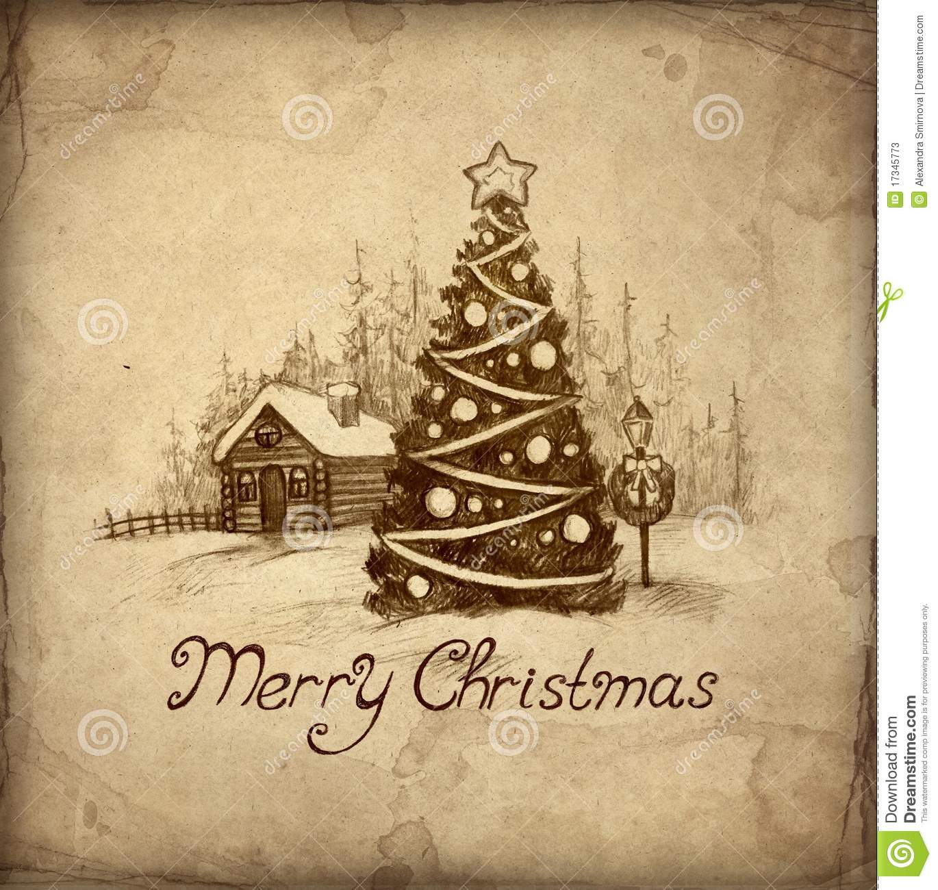 Old Christmas Greeting Card Stock Photos - Image: 17345773