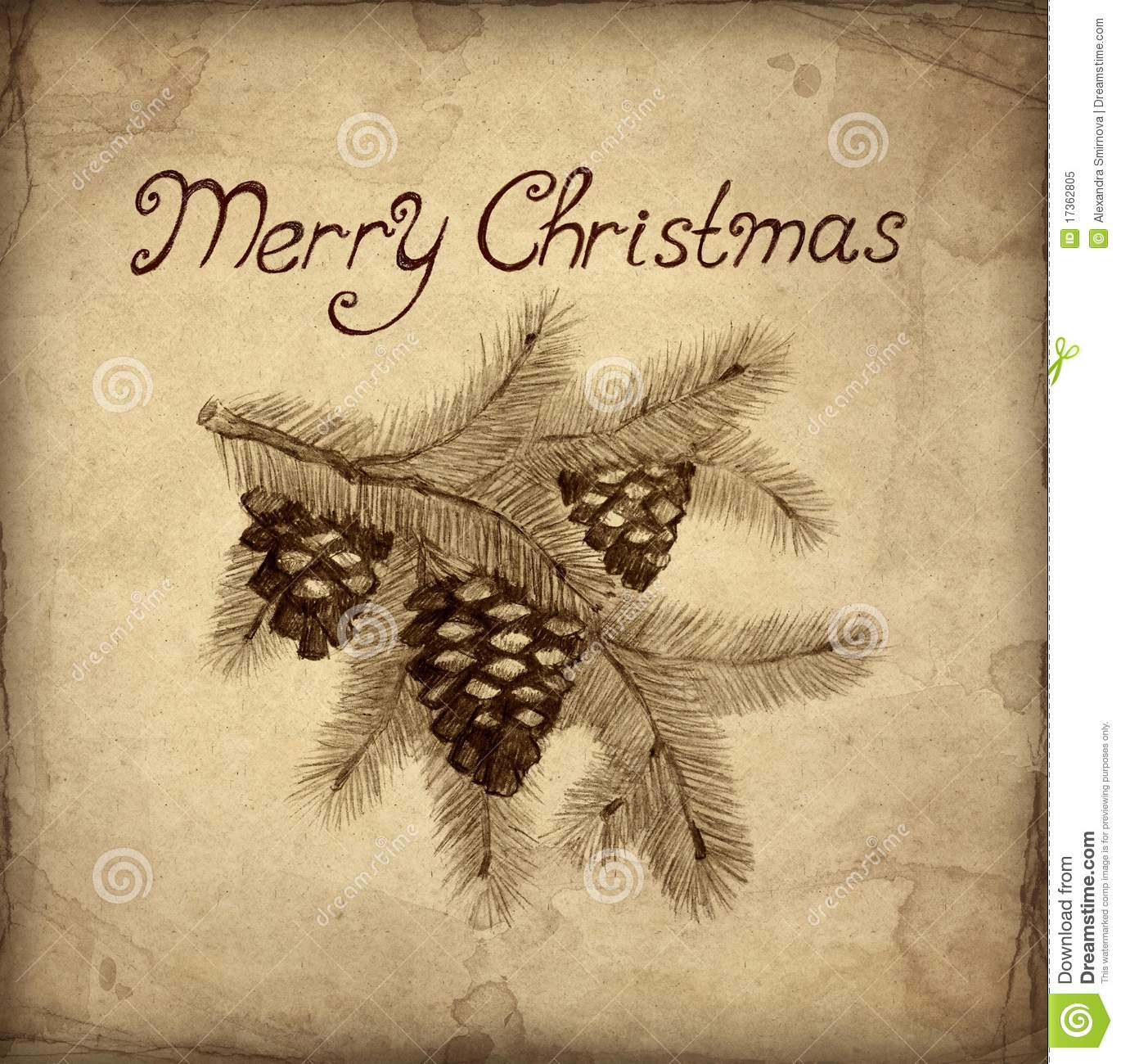 Old Christmas Greeting Card Stock Illustration - Illustration of ...