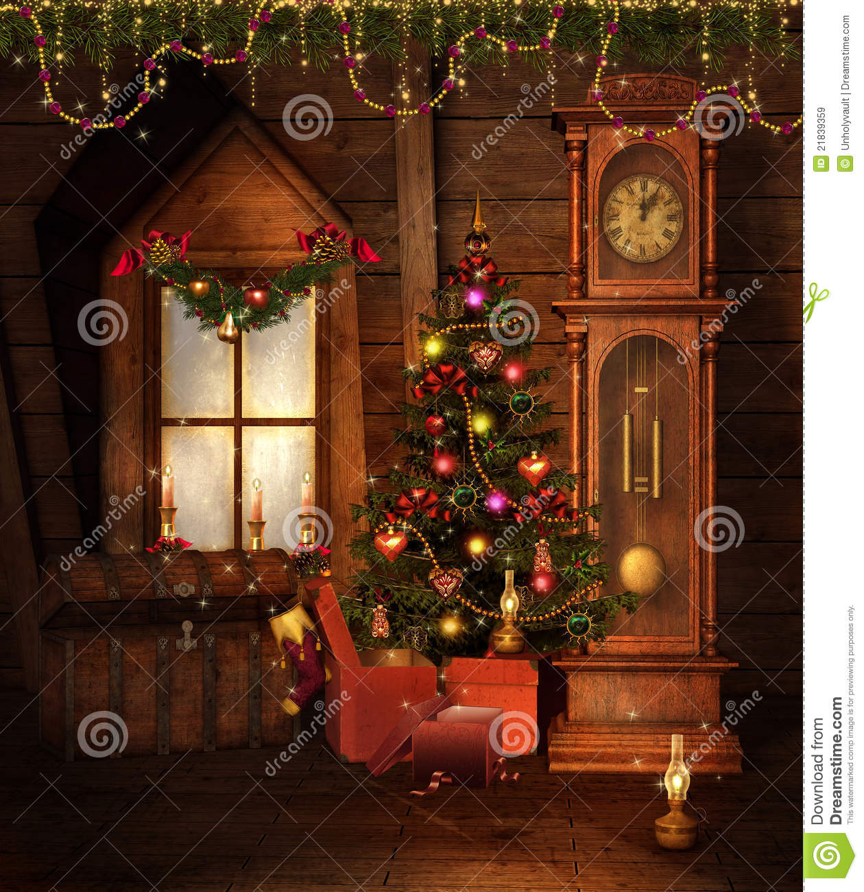 Old Christmas room stock illustration. Illustration of background ...