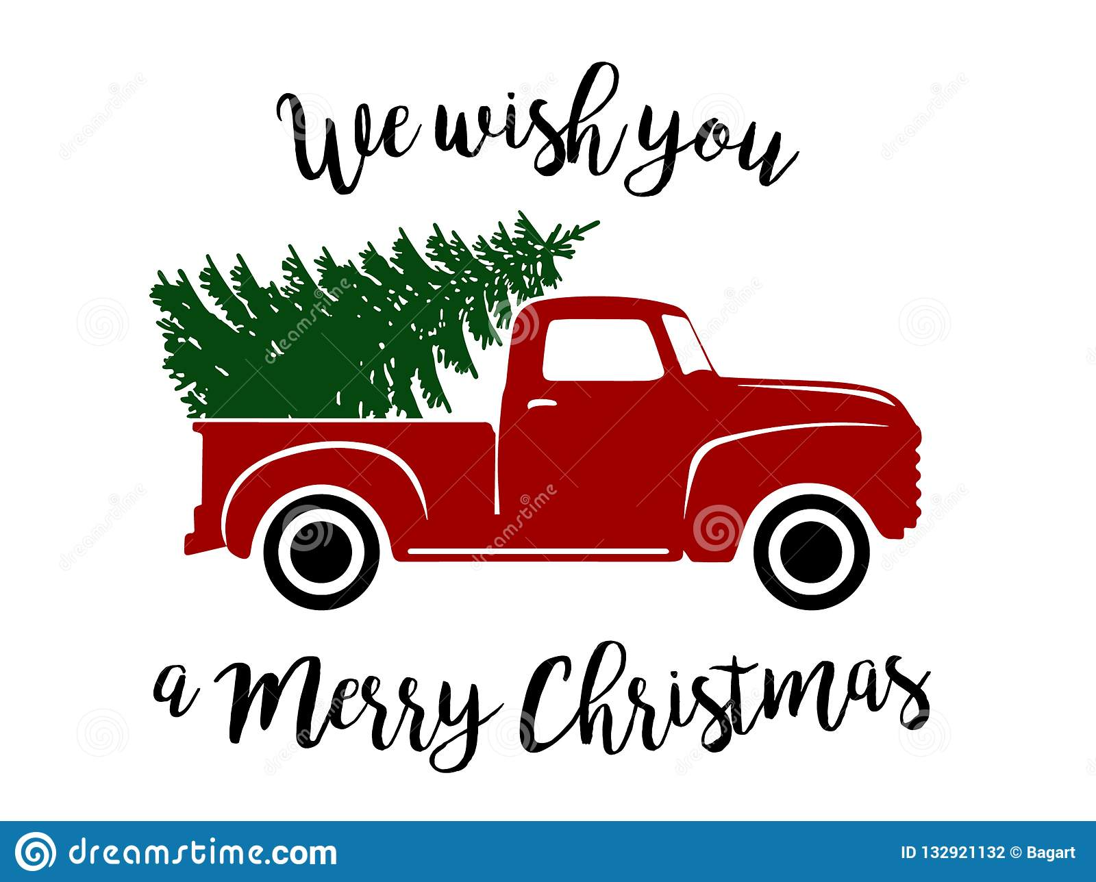 Old Christmas Truck stock vector. Illustration of flowing ...