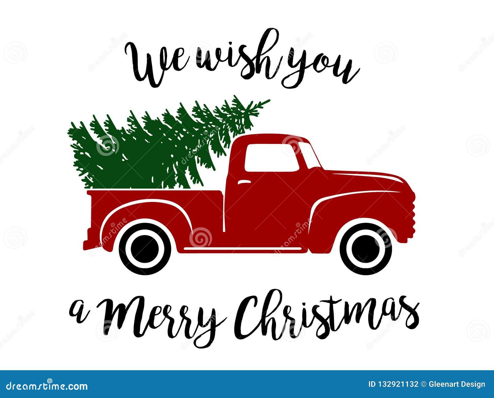 Old Christmas Truck Stock Vector Illustration Of Artwork 132921132
