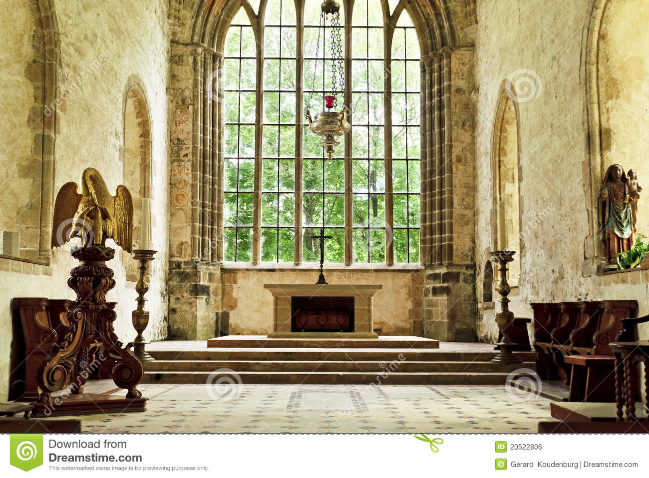 Old Church Altar In A Historic Abbey Royalty Free Stock