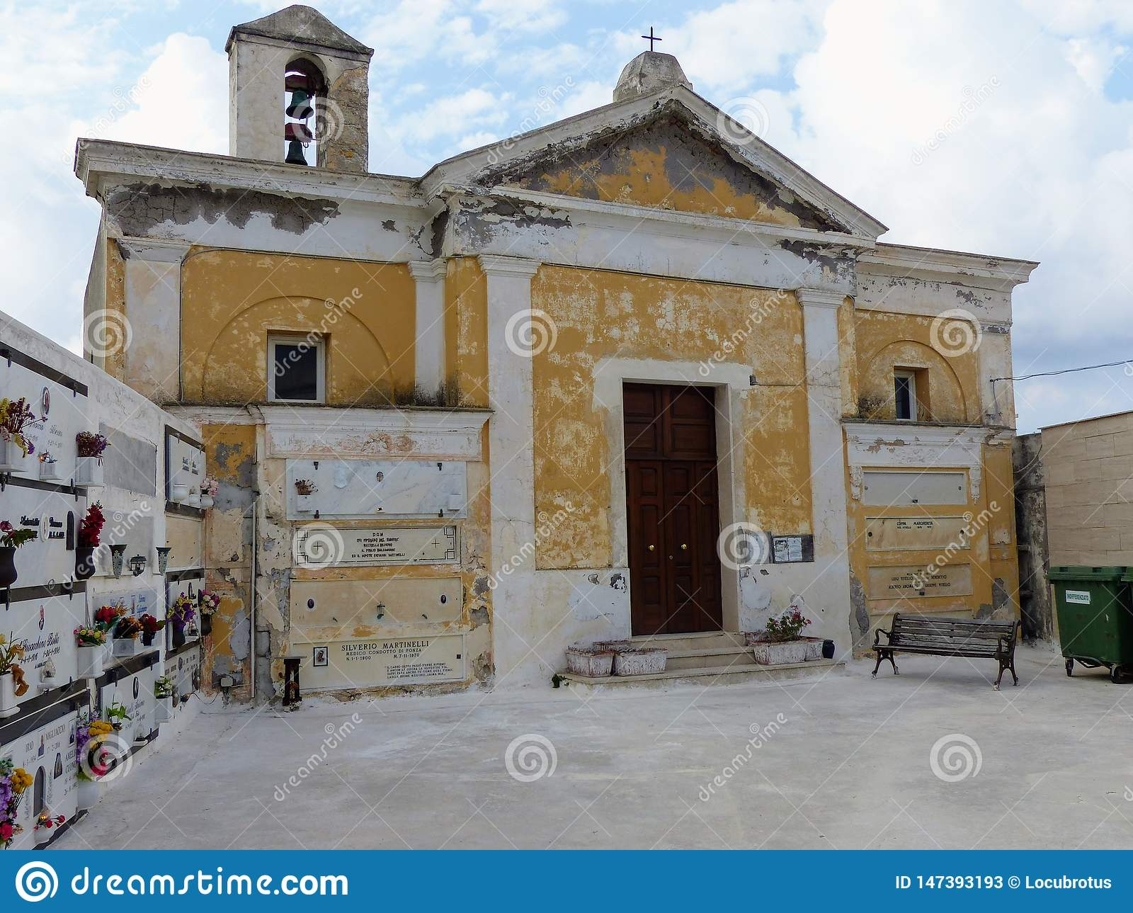 Old church of the cemetery of the island of Ponza in Italy.