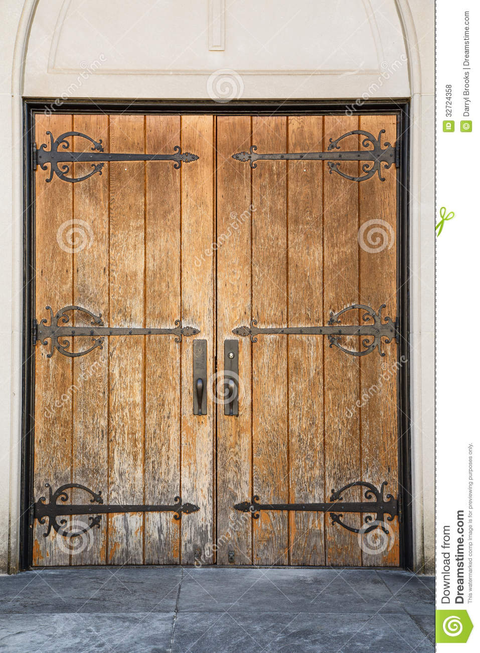 Old Church Doors With Iron Hinges Royalty Free Stock