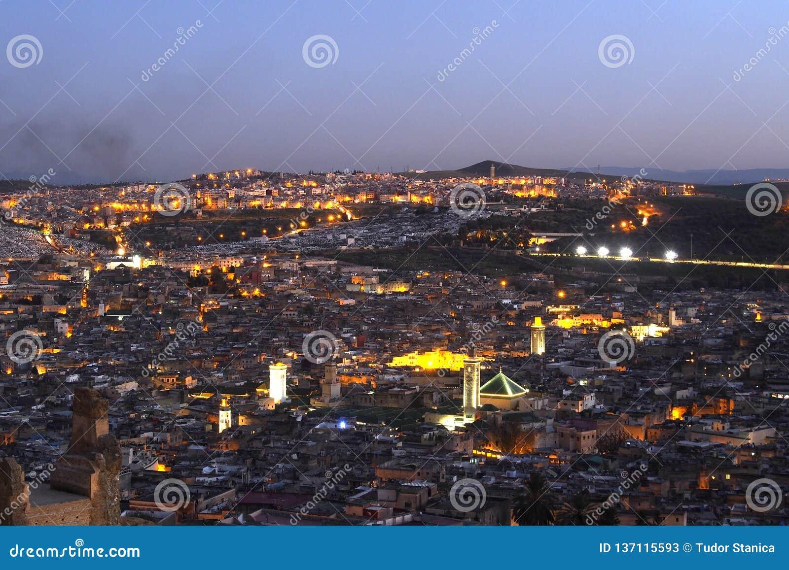 Old City of Fes Marocco nightscene