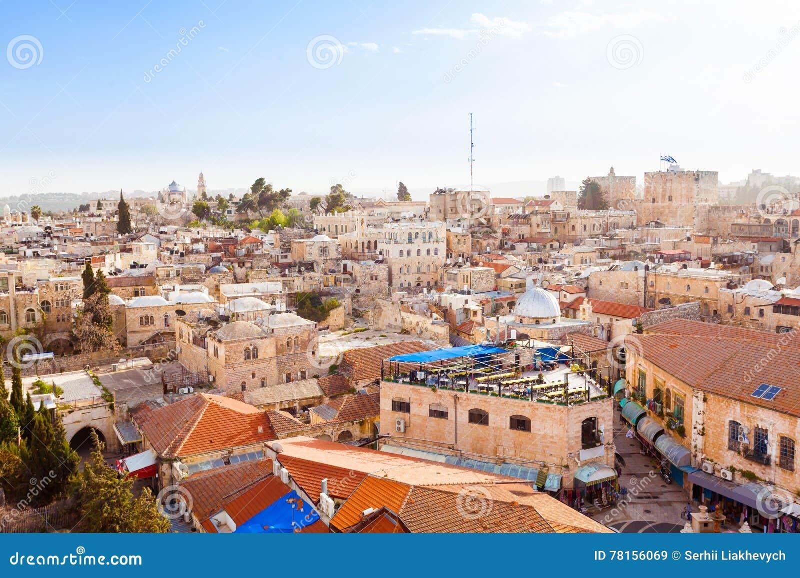 Old City Jerusalem From Above Dormition Abbey Stock