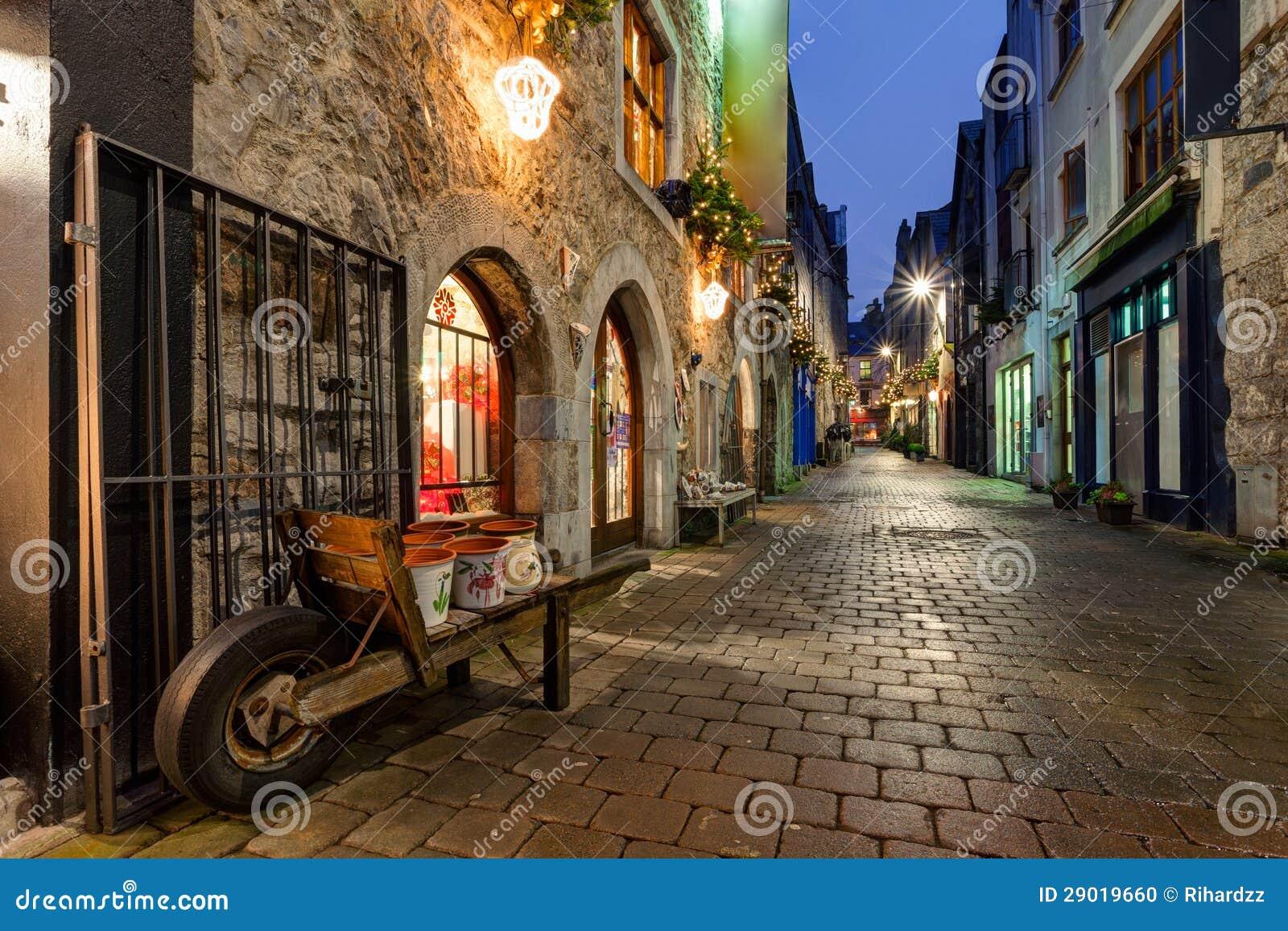 Galway kerwan s lane decorated with christmas lights night scene
