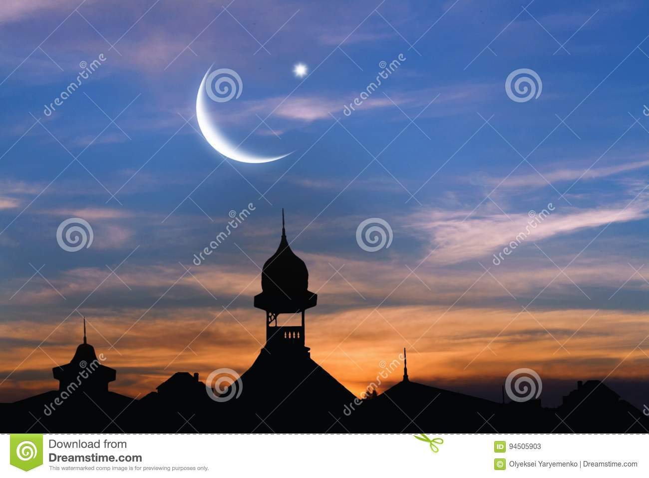 Old City At Sunset Muslim Abstract Greeting Banners Stock Image