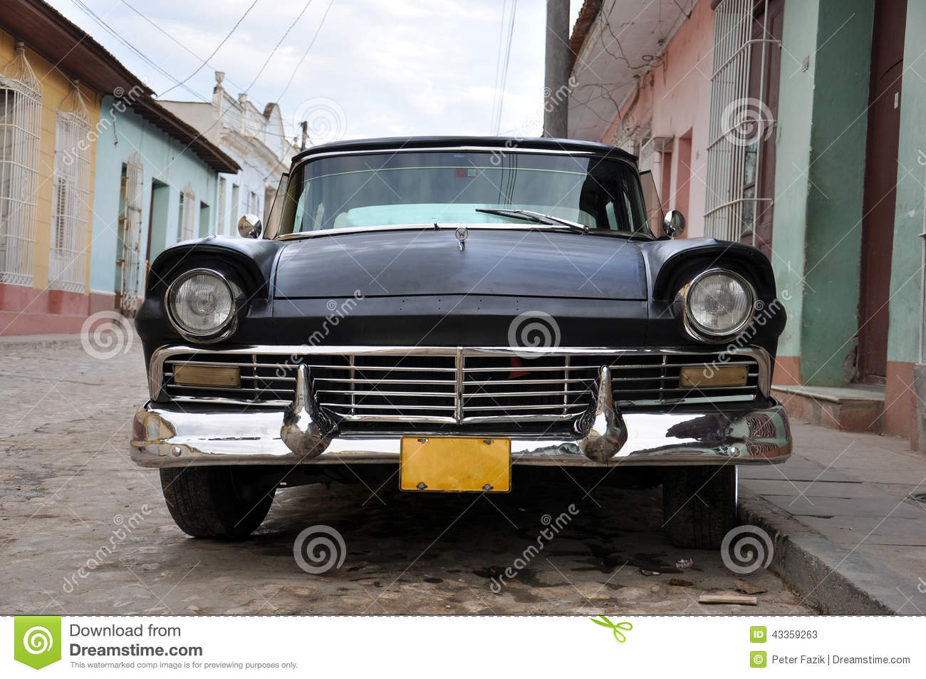 Old classic american car parked in cuba stock image for Old classic american cars