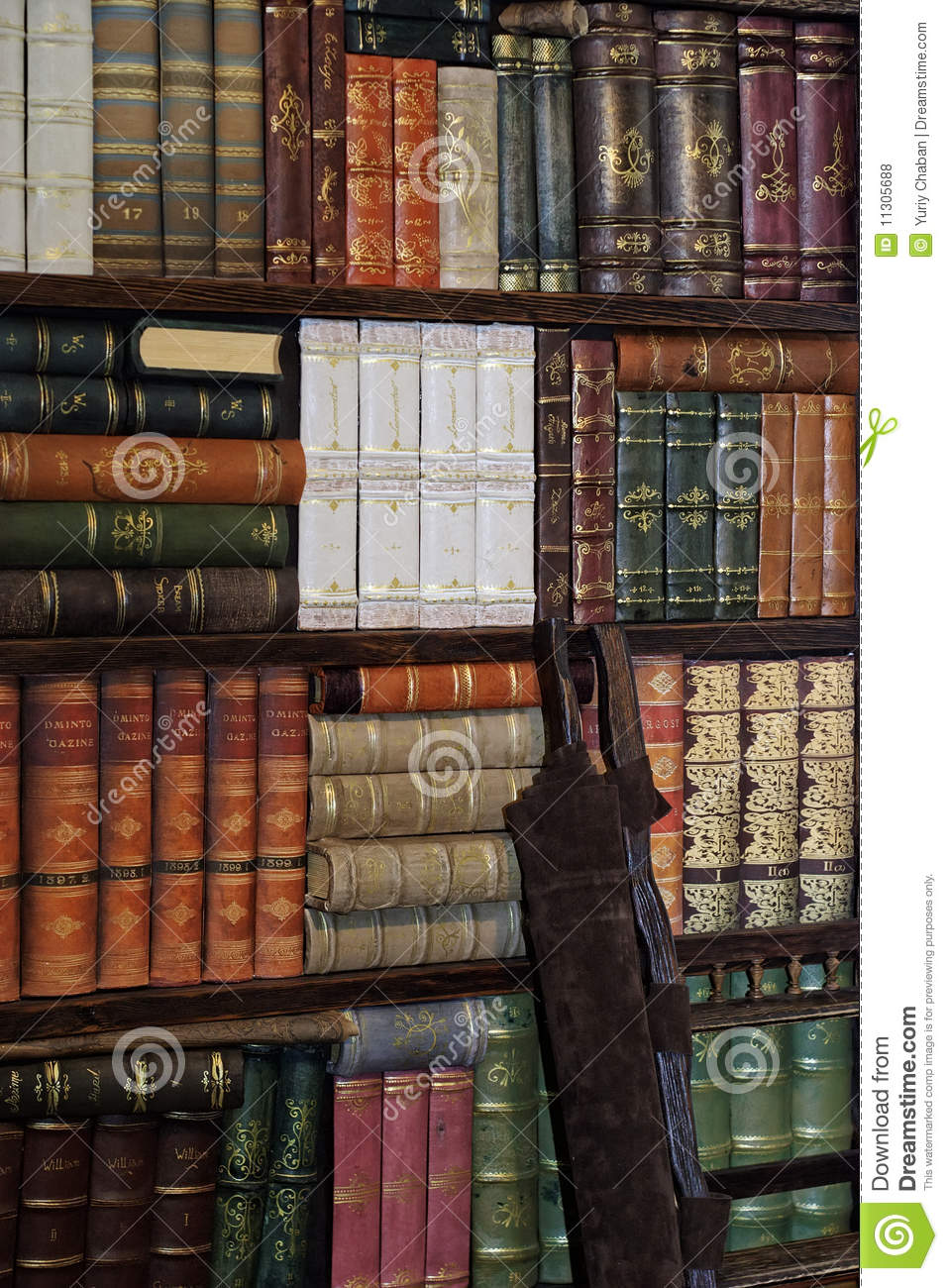 Old classic books on bookshelf Royalty Free Stock