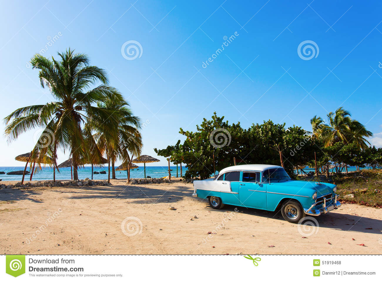 Old Classic Car On The Beach Of Cuba Stock Photo Image